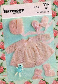 RARE Original Vintage Pretty Baby Girl Knitting Pattern