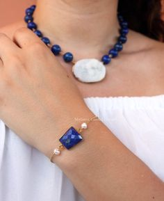 NYMPHE Bracelet-Vermeil Bracelet with faceted lapis by MelaniaGoriniJewelry