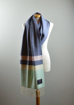 Classic Lifestyle Lambswool Blanket Scarf in Slate Blue Block Stripe