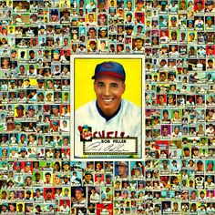 1952 Topps Baseball Cards 376 Card Collage. Bob Feller, Baseball Park, Field Of Dreams, Sports Pictures, Vintage Cards, Chicago Cubs, Trading Cards, The Past, Picture Collages
