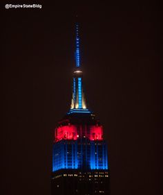 Empire State Building in New York City lit in New England Patriots colors in honor of their #SuperBowl victory.