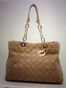 LADY DIOR BEIGE LEATHER CANNAGE LARGE SHOPPER TOTE HANDBAG BY CHRISTIAN DIOR