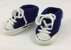 Converse Style Crochet Baby Booties  Royal Blue by BabyJaneKnits
