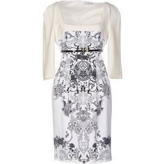 Versace Collection Short Dress ($505) ❤ liked on Polyvore featuring dresses, white, 3/4 sleeve dress, stretch dress, rayon dress, white jersey and tube dress