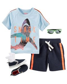 Take a bite out of summer with this matching tee and shorts. The right shoes, socks and sunglasses (with neon pops!) pack plenty of style. / He's ready to ride in this matching tee and shorts. Sneakers and socks (with neon pops!) pack plenty of style.