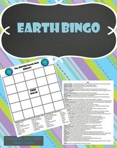 Earth Bingo This is a bingo game that I created for my middle school science students to review key vocabulary at the end of our quarter long Earth unit. Students fill their card with any words from the list and I call out the definition. If they know the definition and have the word on their card, they mark it.   Vocabulary topics covered: Theory of Continental Drift, Theory of Plate Tectonics, Mountains, Convection, Volcanoes, Earthquakes, etc.