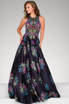 Sleeveless Black Multi Floral A line Gown 49225
