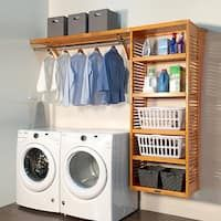 Small laundry room makeover Shop John Louis Home deep Laundry Organizer Honey Maple - Free Laundry Room Remodel, Laundry Room Organization, Laundry Room Design, Laundry Organizer, Storage Organization, Storage Ideas, Storage Shelves, Organizing, Bathroom Storage