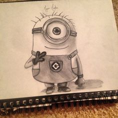 Second minion drawing! Despicable me is one if the cutest movies of all time! Love these little yellow guys. Commission art upon request. Cartoon Drawings Of People, Disney Drawings, Drawing People, Drawing Videos For Kids, Drawing Ideas, Minion Drawing, Yellow Guy, Cute Minions, Cute Sketches