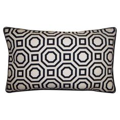 Feather-down pillow with a geometric motif. Made in the USA.  Product: PillowConstruction Material: Cotton and 95/5 d...