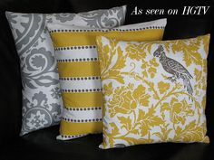 "Pillows Decorative Pillows TRIO suzani, lulu stripe, barber bird 18x18 inch Throw Pillow Covers gray 18"" storm grey, corn yellow, white by LittlePeepsHomeDecor on Etsy https://www.etsy.com/listing/83231566/pillows-decorative-pillows-trio-suzani"