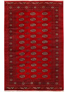 "Deep Red Oriental Bokhara Rug 5' 1"" x 7' 10"" (ft) - No. 26622"