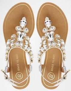 Enlarge River Island Really Embellished Flat Sandals