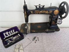 Antique 1891 Improved New Goodrich No 2 Treadle Sewing Machine with Accesories Treadle Sewing Machines, Antique Sewing Machines, Linens And Lace, Pincushions, Sewing Notions, Vintage Fabrics, Friends Family, Upholstery, Antiques