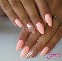 pastel peach nails with pearl accent nail