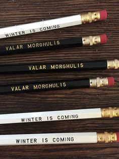 "The perfect gift for all of those Game of Thrones fans out there! Long live Jon Snow! :) This set includes 6 pencils, 3 are white and say """"Winter is Coming"""" and 3 black pencils that read """"Valar Mor"