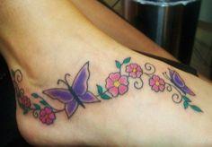 flower vine foot tattoo - Google Search