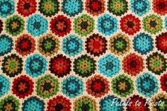 Using different shades of blue, green and orange, you can work up this amazing Colorburst Granny Hexagon; you can choose your own crochet colors as well. The double crochet stitch is going to allow you to make these pretty hexagons.