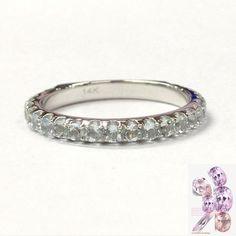 Aquamarine Wedding Band 3/4 Eternity Anniversary Ring 14K White Gold 2mm - Lord of Gem Rings - 1