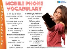 Mobile Phone Vocabulary -         Repinned by Chesapeake College Adult Ed. We offer free classes on the Eastern Shore of MD to help you earn your GED - H.S. Diploma or Learn English (ESL) .   For GED classes contact Danielle Thomas 410-829-6043 dthomas@chesapeke.edu  For ESL classes  contact Karen Luceti - 410-443-1163  Kluceti@chesapeake.edu .  www.chesapeake.edu