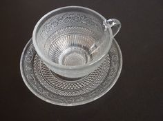 Clear Glass Coffee Mugs and Saucers | Clear Glass Cut Glass Coffee/Teacup and Saucer by oldandnew8