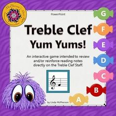 Listen to your students laughter as small furry monsters appear and scurry across the page to eat the candy once they select the correct candy/letter name in this interactive Treble Clef Music Game!