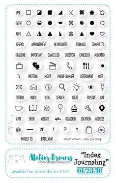 PRE-ORDER Index Journaling - Planner Stamps (Photopolymer Clear Stamps) Perfect for shorthand journaling, stamp, kawaii clear stamp