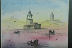 watercolors by Oya Guray,istanbul maiden tower..oyaguray.com