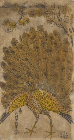 After Nishimura Shigenaga Japanese, ca. 1697-1756 Igaya Kanemon, publisher Japanese Peacock and pine (Matsu ni kujaku), late 19th century Polychrome woodblock print/RISD Museum