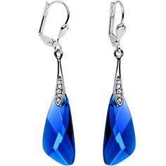 Handcrafted Silver Plated Blue Inspire Dangle Earrings Created with  Swarovski Crystals.More info for onyx 06c0836c887