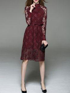 Burgundy Lace Plain A-line Long Sleeve Midi Dress Lovely Dresses, Trendy Dresses, Simple Dresses, Elegant Dresses, Short Dresses, Fashion Dresses, Formal Dresses, Women's Fashion, Long Sleeve Midi Dress