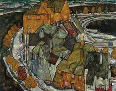 Croissant de maisons, par Egon Schiele