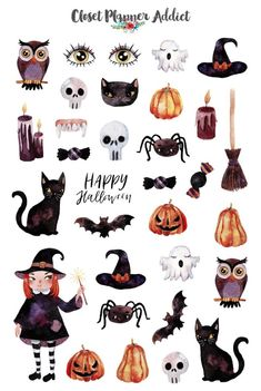 Halloween 2019 Planner Stickers | Halloween Stickers | Ghost Stickers | Pumpkin Stickers | Owl Stickers | Fall Stickers (S-428)