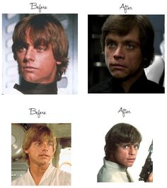 Before and after Mark Hamill's car accident.
