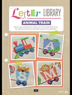 Animal Train Letter Library CrossStitcher  Issue 315 March 2017 Zinio Saved