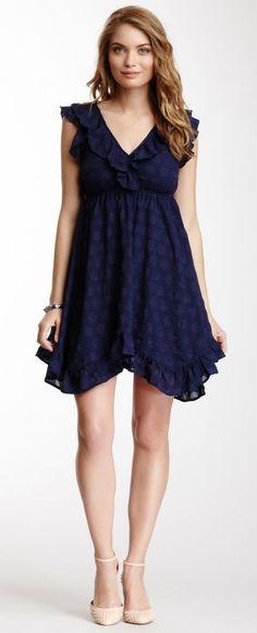 Tulle Ruffle V-Neck Dress