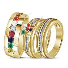 Navgraha Nine Gemstone 14K Yellow Gold Plated Couple Navratna Trio Ring Set #aonejewels #NavgrahaNineGemstoneTrioRingSet