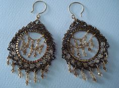Golden shadows Crocheted Wire Earrings by dragonswire on Etsy