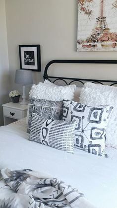 Girls bedroom girls bedding pillows girls pillows midmod mid modern neutral decor kids decor bedding instagram @house.becomes.home