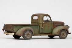 This is Revells '41 Chevy Pickup. I built a new front grill from strips of aluminium, and scratched the wiper and side mirror.  The painting was a fairly complex process, using Vallejo and Tamiya Acryl…