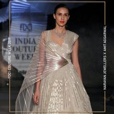 """Narayan Jewellers delightfully launched the new bridal collection in association with ace Designer Amit Aggarwal for """"Lumen"""" Couture 2019 at FDCI. Illustration Fashion, Couture Week, Fashion Show, Fashion Design, Bridal Collection, Lehenga, Hand Embroidery, Product Launch, Stripes"""