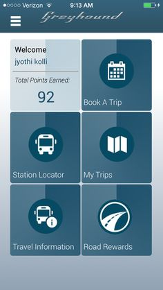 The Greyhound mobile app is a must for all road travelers! From this app, you can book tickets, search schedules, keep track of your trips, get travel info and track your Road Rewards.   Download this today in from the Apple iTunes and Google Play stores.