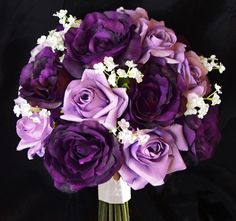 Deep Purple Peonies and Lavender Roses Bouquet with Stephanotis - Bridal Boquet