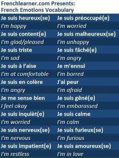 French emotion vocabulary