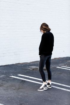 knit, skinny jeans & high-top Nike sneakers #style #fashion