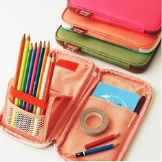 Pen-Pencil-Pocket-Case-Organizer-Cosmetic-Pouch-Brush-Holder-Makeup-Box-Bag-New