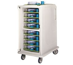 """CAMBRO Cart, Food Transport, Meal Delivery Cart, tall profile, 1 door, 2 compartments, holds (16) 14"""" x 18"""" trays, 28""""W x 36-1/2""""D x 58-1/8""""H, molded-in handles, 1 per end, 6"""" s/s casters (2 rigid, 2 swivel with brake), gray with cream color door, NSF"""
