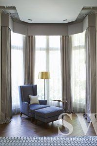 064. Four Curtains From Bay Pelmet With Sheer Curtains