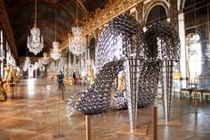 joana vasconcelos(sculpture) Her newest work 'Marilyn' displayed at the Versailles..made out of pots and pans