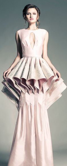Sculptural Folds - 3D fashion constructs; elegant pale pink gown; volume fashion // Jean Louis Sabaji Couture
